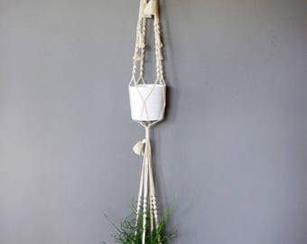 Hanging double macrame white off-white tassel for plants