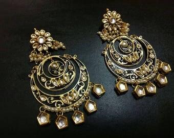 Black Handpainted Meenakari Earrings