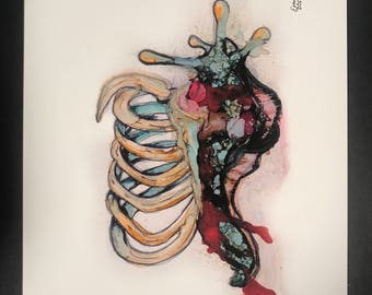 Ribcage snail painting  8.5x11in PRINT