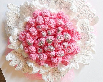 Great for wedding, party hair crochet flower.