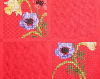 Red flowers embroidery