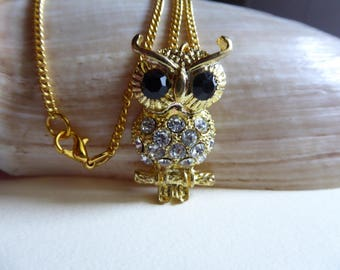 gold tone and white rhinestone OWL pendant necklace