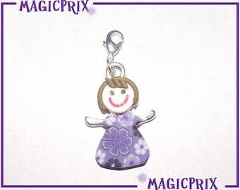 LARGE FIMO purple m147 girl PENDANT & CHARM charm