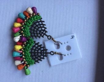 Colourful Earrings, Gypsy Earrings. Festival Earrings,  Beaded Earrings, Hand Made Jewellery, Macrame Earrings