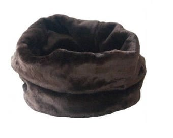 CHOCOLATE Nid Douillet - Bedding Dogs or Cats Faux Fur Fabrics - Threeway Bedding (basket, tunnel, carpet) - On Order