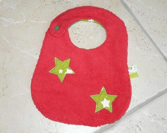 Red and green - reversible bib with stars