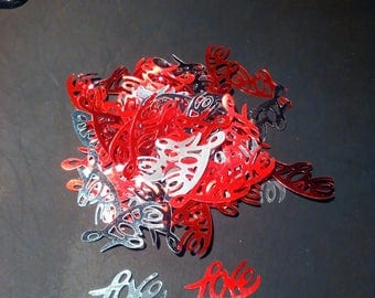 set of confetti words love Red and silver love