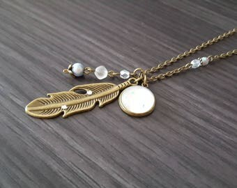 Large white feather necklace