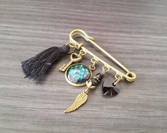 Swarovski black heart brooch