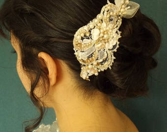 wedding hair comb: lace embroidered pearls and silk