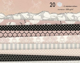 Background papers A5 Magnolias - 20 sheets - Ref 95180C block