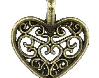 50 Bronze within 15 days 16x15mm heart charms pendants