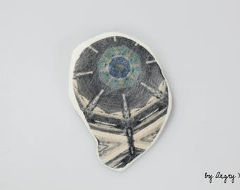 porcelain geometric abstract brooch