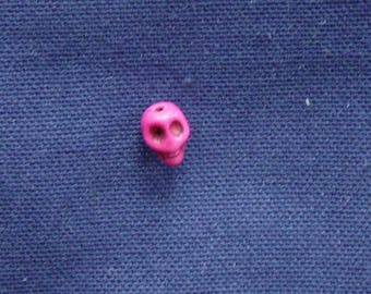 1 Pearl howlite skull pink 11 x 8 mm