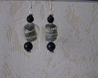 Earrings black pearls and gold aventurine