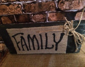 Family burlap sign