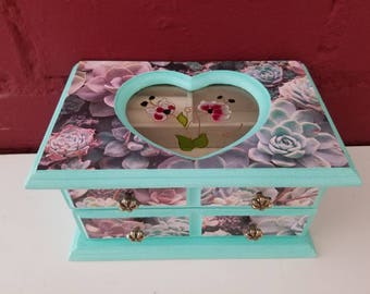 Upcycled Jewelry Box // Succulents Jewelry Box // Vintage Jewelry Box.