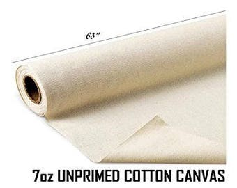 "63"" Wide Unprimed Cotton Canvas Fabric 7oz Natural Duck Cloth - Sold By The Yard"