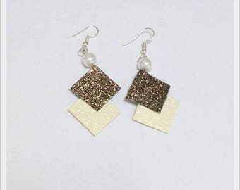 Earrings geometric Brown glitter and off-white