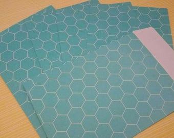 SET of 5 HEXAGON blue TURQUOISE 11.4 pattern envelopes x 16.2 cm SCRAPBOOKING