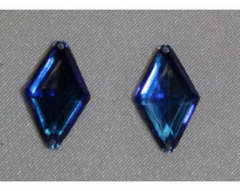 rhinestone diamond 18mm x 11 mm - blue