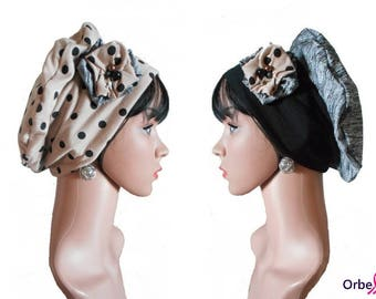 """Chemo REVERSIBLE beret """"Candice"""" & its removable fabric flower"""