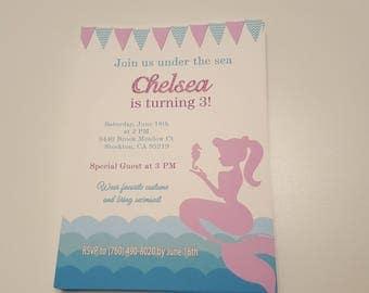 Mermaid birthday invitations   Mermaid invitations   Mermaid party invitation