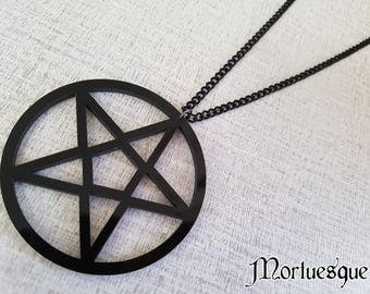Acrylic Pentacle Gothic Pendant Necklace with Black Chain