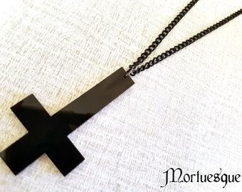 Acrylic Inverted Cross Gothic Pendant St Peter's Cross Necklace with Black Chain