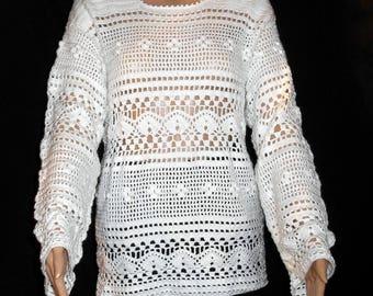 Crochet wool white women sweater