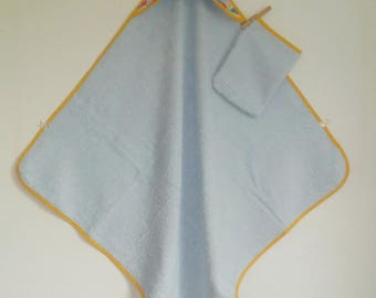 Hooded towel and washcloth fabric and light blue multicolor