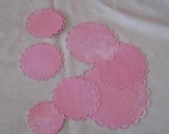 scrapbooking, cut, round doily, rose tone paper