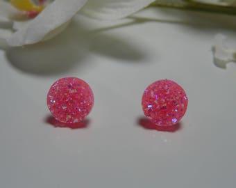 """""""Meteor"""" pink neon 12 mm rhinestone Stud Earrings"""