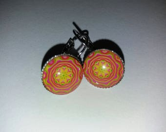 pattern 11 mandala glass cabochon earrings