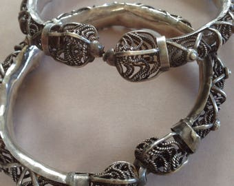 Antique Rajasthan silver wedding bangles