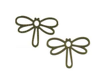 Bronze colored metal Dragonfly charm