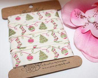 5 m of Ribbon cotton tree of Christmas 15 mm - SC70628 jewelry - scrapbooking