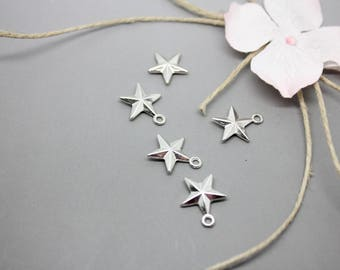 5 pendants, charms Silver Star Silver 16x13mm - SC56492-