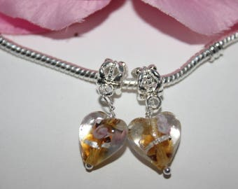 Set 2 pearls silver pendant heart glass orange light brown pandor style a - SC12146-