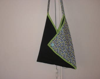 fabric shoulder bag, lightweight denim cotton and fabric vintage patterns
