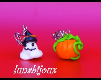 Polymer clay ♥ clip-on earrings child ghost & pumpkin halloween♥