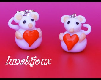 earring mouse polymer clay red heart