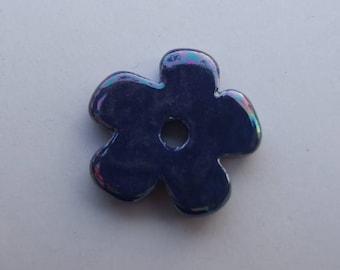 CERAMIC BLUE FLOWER DARK 24MM