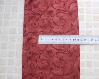 Great cotton fabric coupon patchwork flower vintage 45 x 55 cm reddish orange Fat Quarter