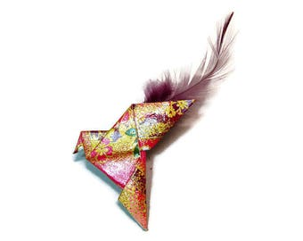 """Dove"" Origami brooch - feather"