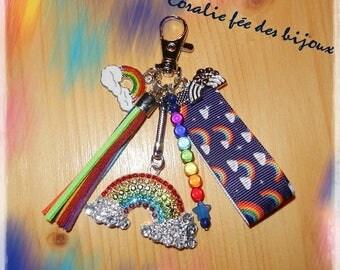 Lucky Rainbow rainbow rhinestone Keychain bag charm
