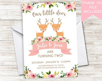 Twin Deer Birthday Invite Invitation 5x7 Floral Watercolor ANY AGE 5x7 Flowers Girls Boho Wild Antlers