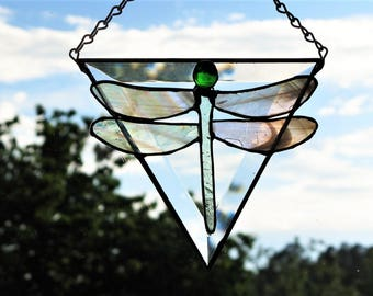 Stained Glass Dragonfly on Clear Triangular Bevel