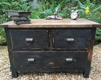 Chest of Drawers Painted Black Annie Sloan Graphite Decoupage Drawers Decoupage Furniture Shabby Chic