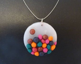 Gourmet pendant multicolored round beads (sold without cord)